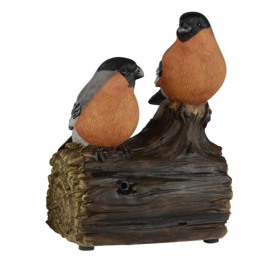 Deco Vogel Beeldje Goudvinkjes Op Boomstam Met Geluid 11 Cm kopen
