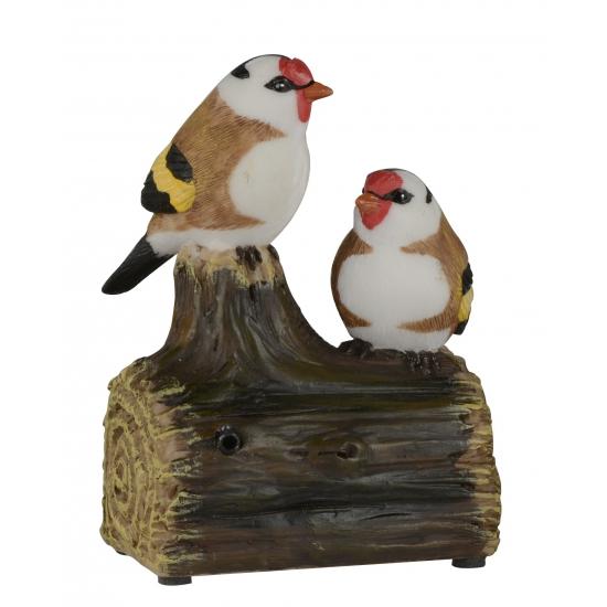 Deco Vogel Beeldje Puttertjes Op Boomstam Met Geluid 11 Cm kopen