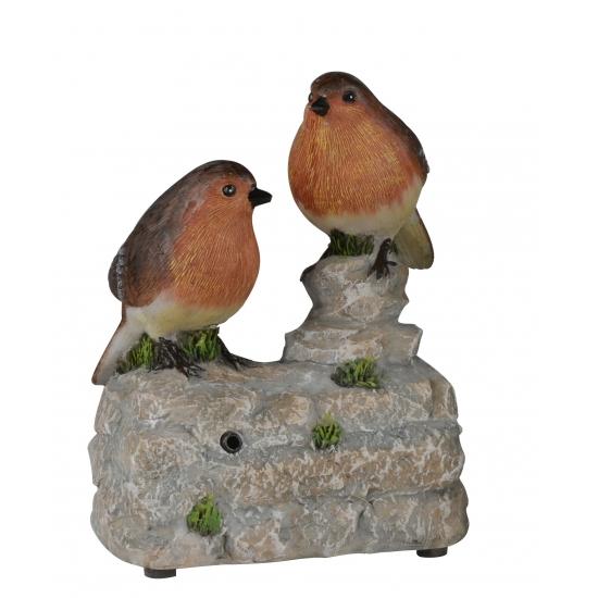 Deco Vogel Beeldje Roodborstjes Op Boomstam Met Geluid 11 Cm kopen