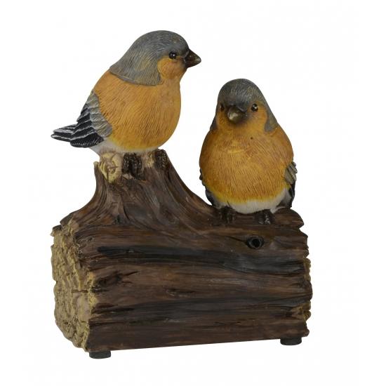 Deco Vogel Beeldje Vinkjes Op Boomstam Met Geluid 11 Cm kopen